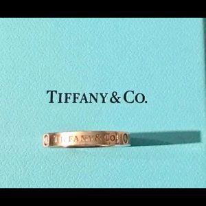 Tiffany & Co. 18k Gold, Size 7.5; 3 Diamond Ring